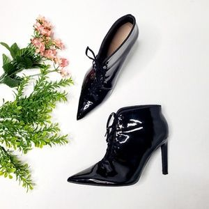 Zara Size 6 Lace Up Patent F Leather Ankle Boots
